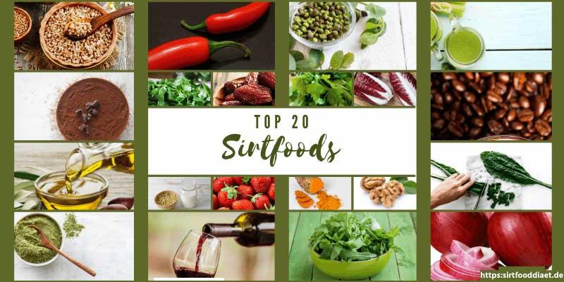 Liste der Top 20 Sirtfoods